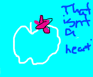 Airplane tries to make aheart but its an apple