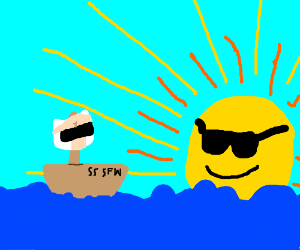 The S.S. SFW sails off into the distance.