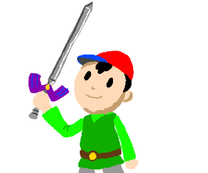 Ness Wearing Green Tunic; Holding Master Sword