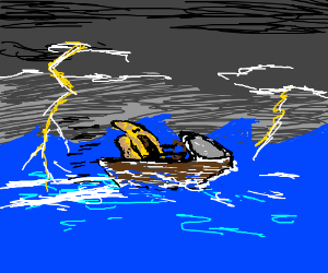 hat drives a boat in the ocean