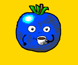 A blue tomato drinking coffee