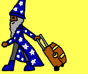 Wizard with a suitcase that is also a chest