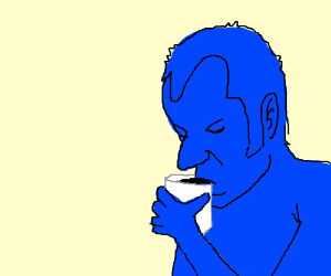 blue guy drinking coffee