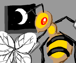 Beedrill sets his wings down for the evening