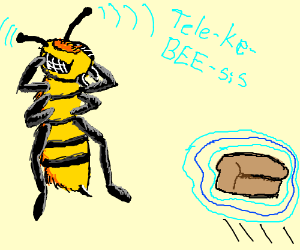 A bee using TelekeBEEsis to conjure up bread