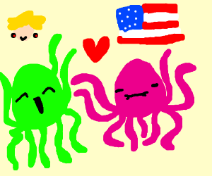 Pink and green octopi love Trump and USA