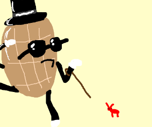 Gangsta Mr. Peanut tries to recruit red ant