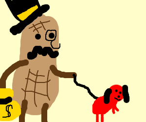 a rich peanut takes tiny red dog for a walk