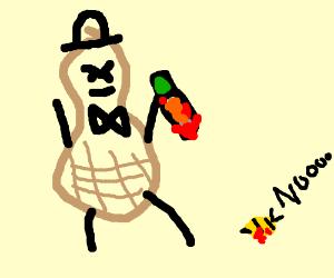 Planter's Peanut guy kills bee with carrot