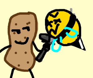 a peanut stabbed a bee