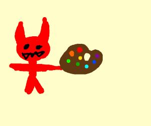 Demon child with a paint pallet