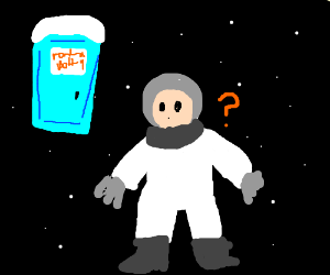 Astronaut is confused by porta-potty