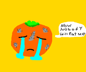 poor orange cries because it's mouldy