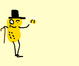 The dubious peanut has caught the bee