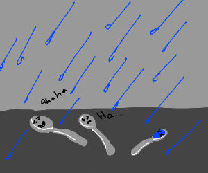 spoons laugh at their misfortune in the rain