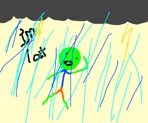 green man lost in dark storm