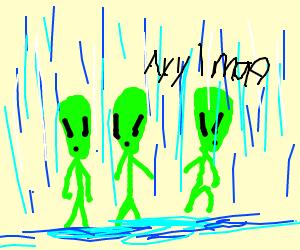 aliens in the rain
