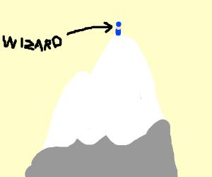 Wizard atop a mountain peak