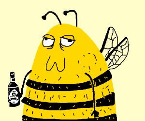 bee drinking beer