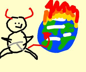 Devil baby watches the world burn