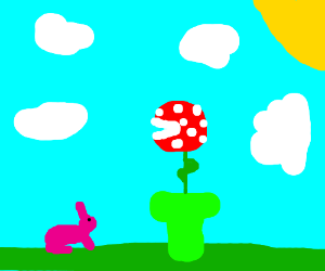 Piranha Plant sees pink bunny