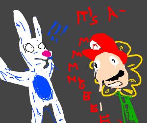 Mario the flower startles blue rabbit