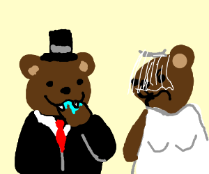Bear chews his own paw of on his wedding