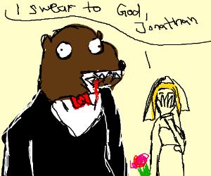 Bear eats his fingers at his wedding.