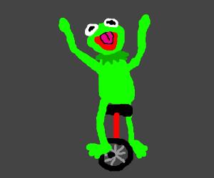 Kermit the frog as Dat Boi.