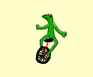 Kermit on a monocycle.