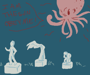 An octopus sun yelling at statues