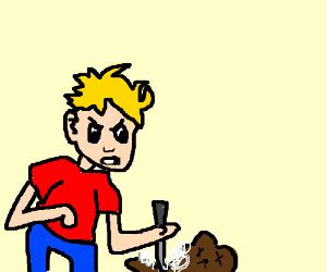 Kid with bad hairdo stabs teddy bear