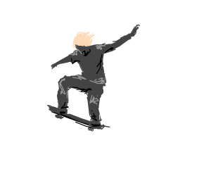 angsty pink haired teen in grey skateboarding