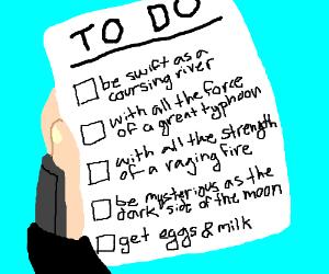 Mulan's to do list