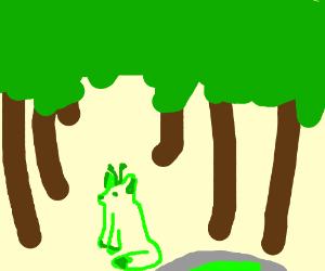 Alien fox lost in jungle