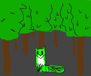 Green alien fox sitting in a forest