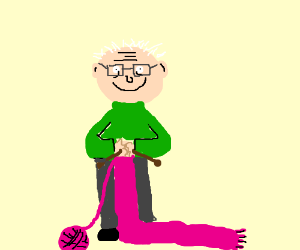 happy old man knits pink scarf