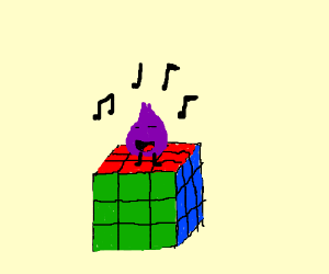 Onion sings on a Rubix Cube