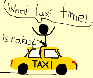 A naked man sits on top of a taxi