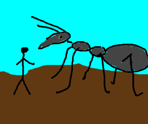 Giant Black Ant About To Eat A Stickman