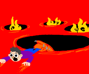 A man is dragged into the pits of hell.