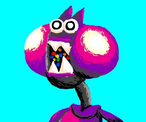 Pink monster eats skittles
