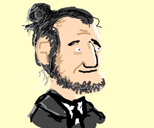 Abe lincoln with a man bun