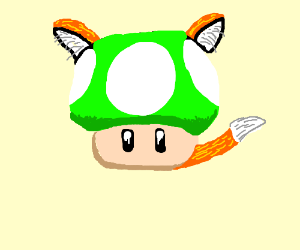 1up Mushroom With Fox Ears And Tail Drawing By Undeadskelesaur