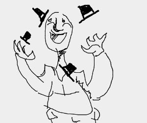Man juggling top hats