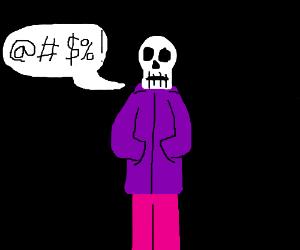 skeleton in a purple hoodie swears