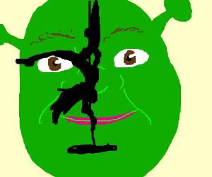 Someone pole dancing on shrek's face