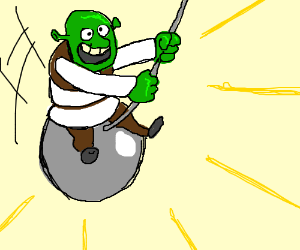 shrek miley swinging on a wrecking ball