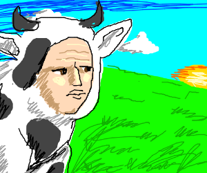 sad human-cow looking off into the distance