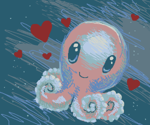 Pink octopus in love
